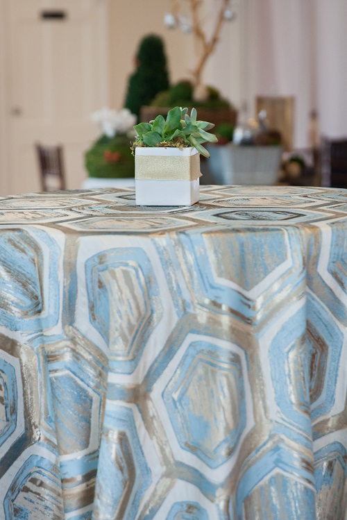 Topaz Prism Table Linen, Blue and Gold Table Cloth, Blue Geometric Table Linen