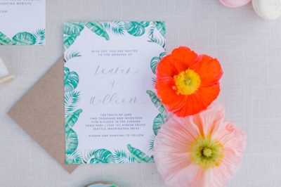 Oat Linnea Table Linen, Swaying Palms Table Linen, Tropical Wedding Invitation
