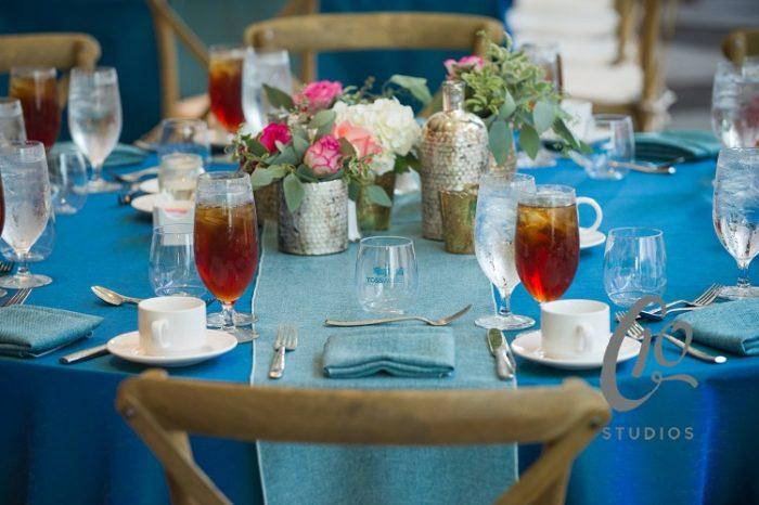 Aquamarine Dupioni Table Linen, Blue Table Cloth, Azure Vintage Linen Runner