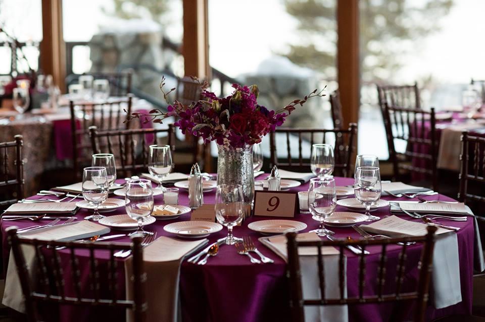 Berry Dupioni Table Cloth, Purple Dupioni Table Linen, Platinum Lamour Napkin