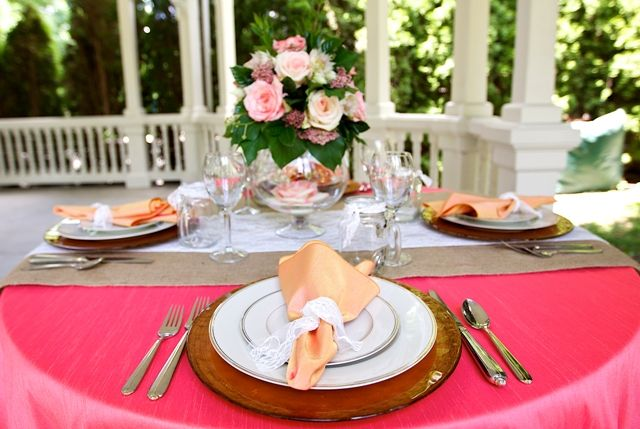Peony Dupioni Table Linen, Bright Pink Table Cloth, Papaya Dupioni Napkin, Burlap Runner