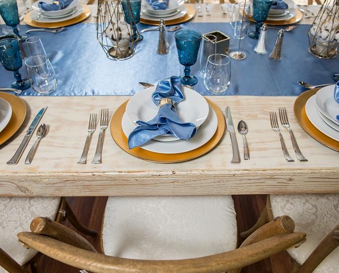 Cornflower Blue Shantung Table Cloth, Light Blue Wide Runner
