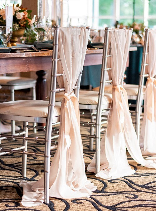 Champagne Voile Sash, Tan Sheer Chair Decoration