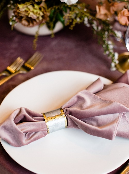 Dusty Rose Plush Velvet Napkin, Light Pink Velvet Napkin