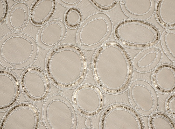 Champagne Elliptic Sequin Table Linen, Sheer White Table Cloth, Circle Pattern Table Cloth, Gold Sequin Table Cloth
