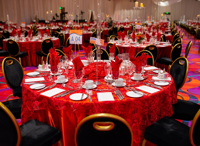 Cherry Luxury Organza Table Linen, Red Dimensional Table Cloth