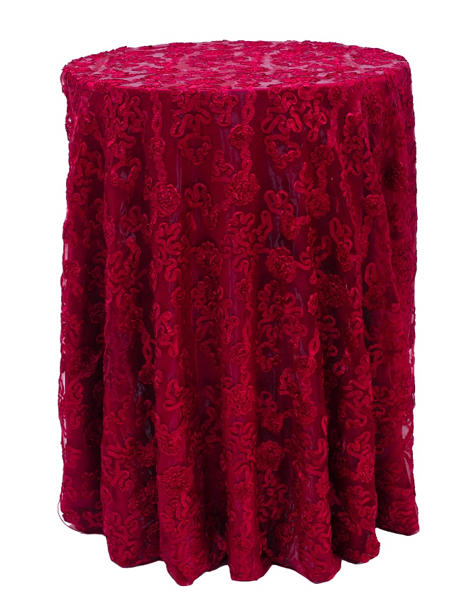 Cherry Luxury Organza Table Linen, Red Floral Table Cloth, Red Sheer Linen
