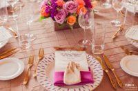 Berry Dupioni Napkin, Camel Pintuck Table Linen, Light Brown Table Cloth, Coral Shantung Chair Sash, Bright Pink Shiny Table Cloth