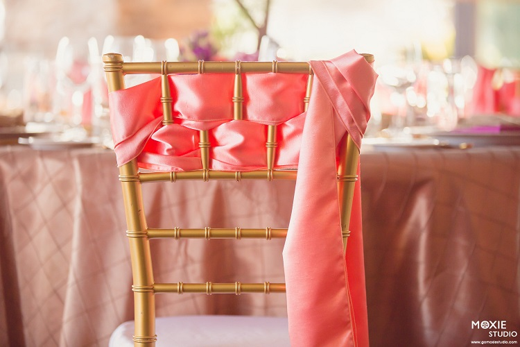Camel Pintuck Table Linen, Light Brown Table Cloth, Coral Shantung Chair Sash, Bright Pink Shiny Table Cloth