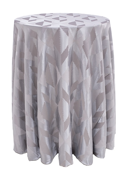 Ivory Messaline Table Linen, Silver Geometric Table Cloth