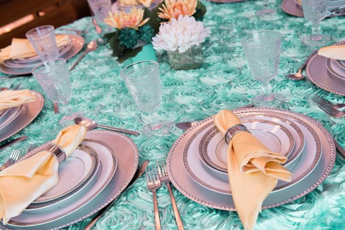 Tiffany Blue Rosette Table Linen, Canary Lamour Napkin