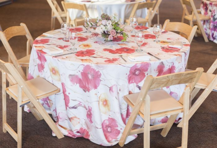 Monet Floor Length Table Linen, Pink Floral Table Cloth