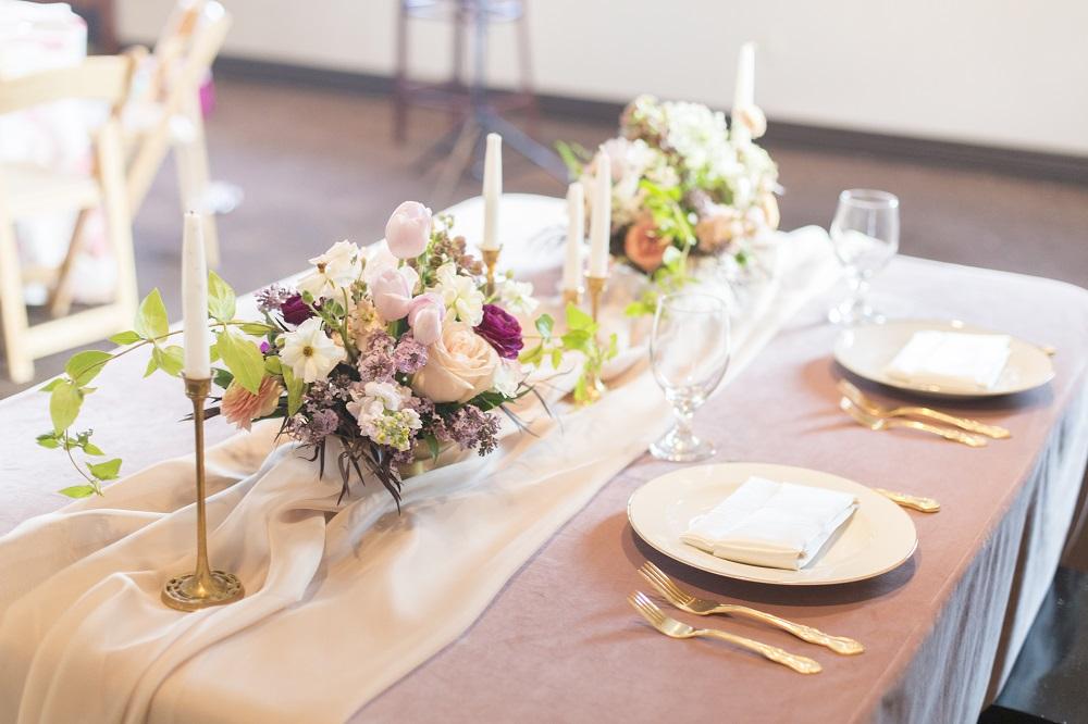 Dusty Rose Plush Velvet, Voile Table Veil, Sheer Table Runner, Gathered Table Runner, Dayton Valley Golf Club, Amy Graves Photo