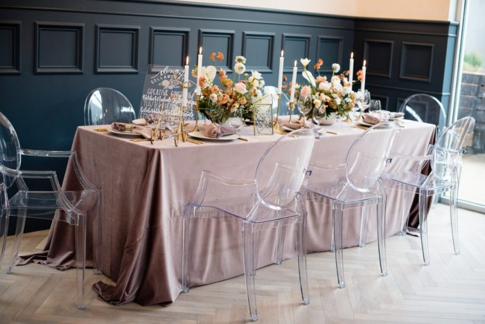 Dusty Rose Plush Velvet Table Linen, Ghost Chairs