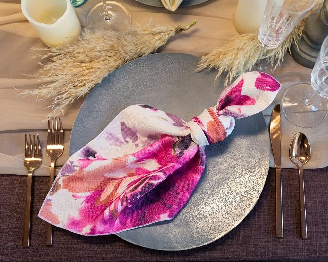 Renoir Table Linen, Pink Purple Floral Table Cloth