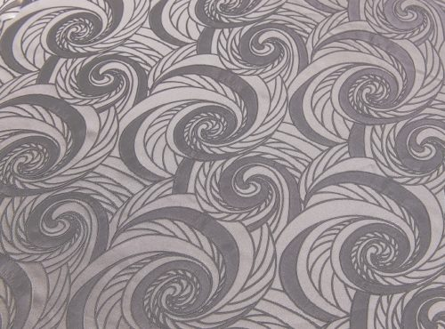 Fog Nautilus Table Linen, Grey Swirl Table Cloth