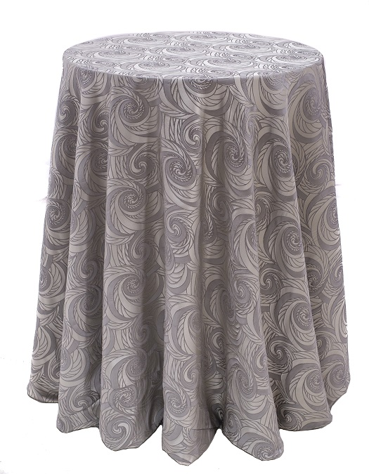 Fog Nautilus Table Linen, Silver Swirl Table Cloth