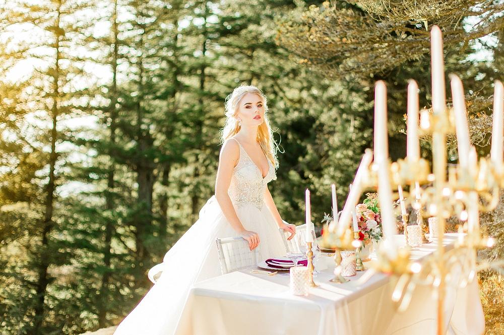 White Lamour Table Linen, Mountain Wedding