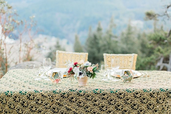 Gold Metallic Lace Overlay, Forest Green Lamour Table Cloth