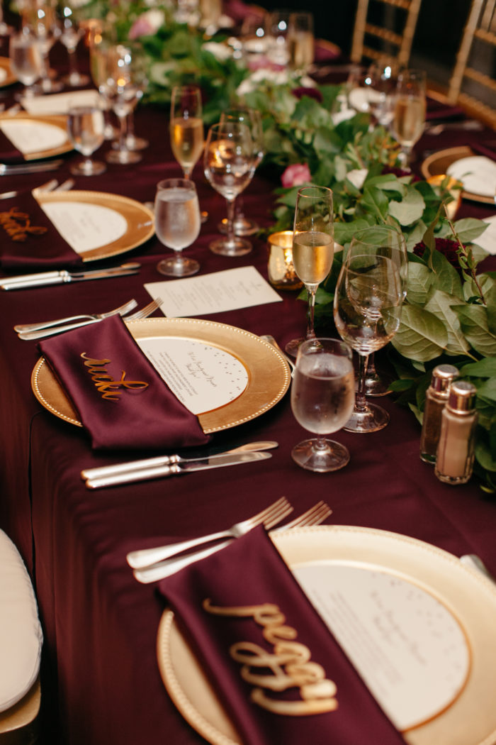 Burgundy Lamour, Burgundy and gold wedding, greenery table runner