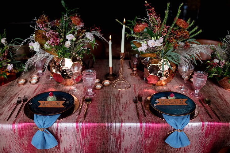 Red Abstract Linen, Denim Napkin, Southwestern Tablescape, Game Creek Club