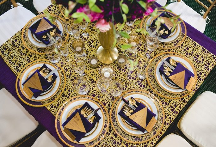 Gold Metallic Lace Overlay, Purple Lamour Table Cloth