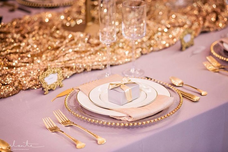 Gold Sequin Table Runner, Gathered Gold Sequin Table Cloth
