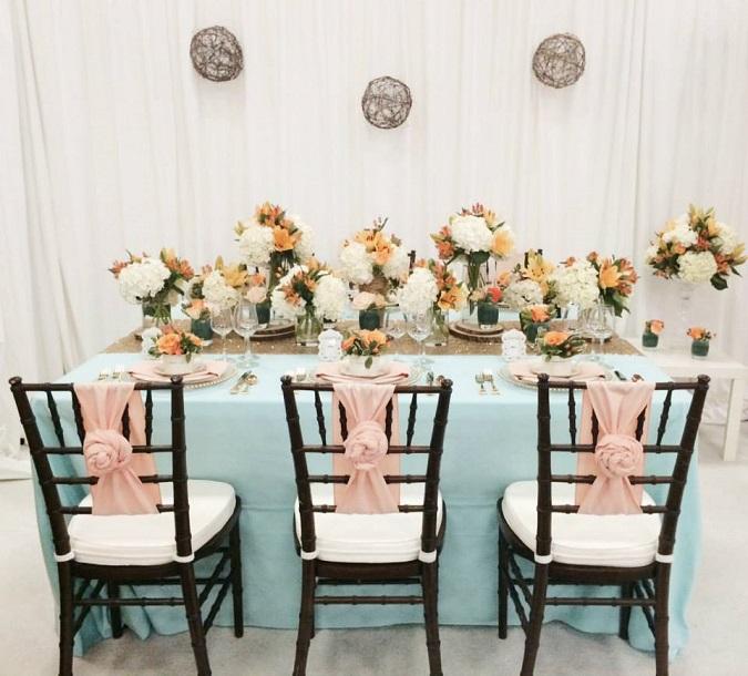 Mint Dupioni Table Linen, Light Blue Table Cloth, Blush Dupioni Sash