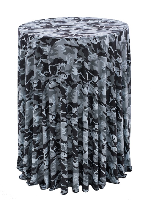 Grey Camouflage Table Linen, Black and White Camouflage Table Cloth