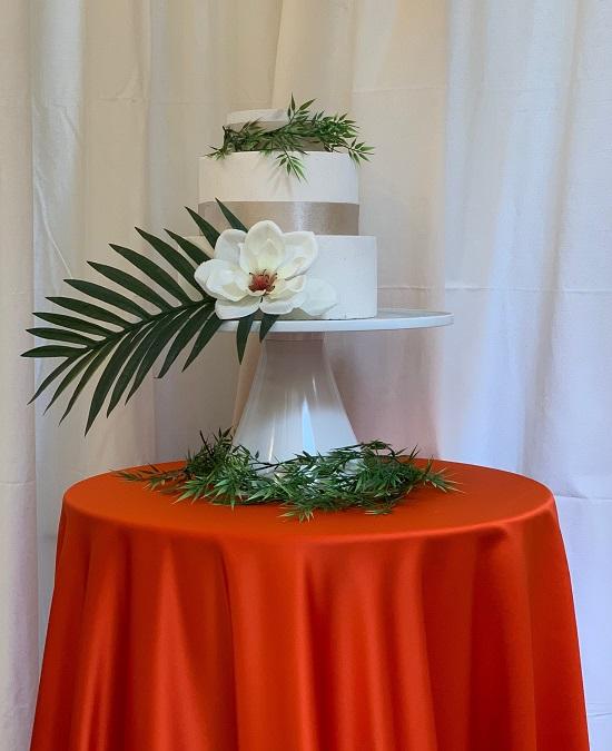 Orange Lamour Table Linen, Orange Satin Table Cloth