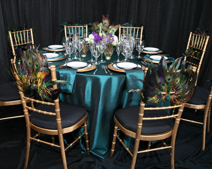 Teal Tafetta Table Linen, Turquoise Table Cloth, Peacock Table Setting, Masquerade Table Setting