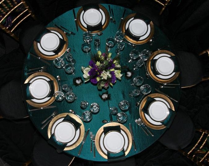 Teal Taffeta Table Linen