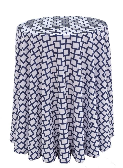 Indigo Piazza Table Linen, Blue Geometric Table Cloth