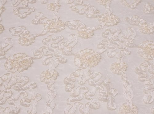 Ivory Luxury Organza Table Linen, Ivory Dimensional Table Cloth