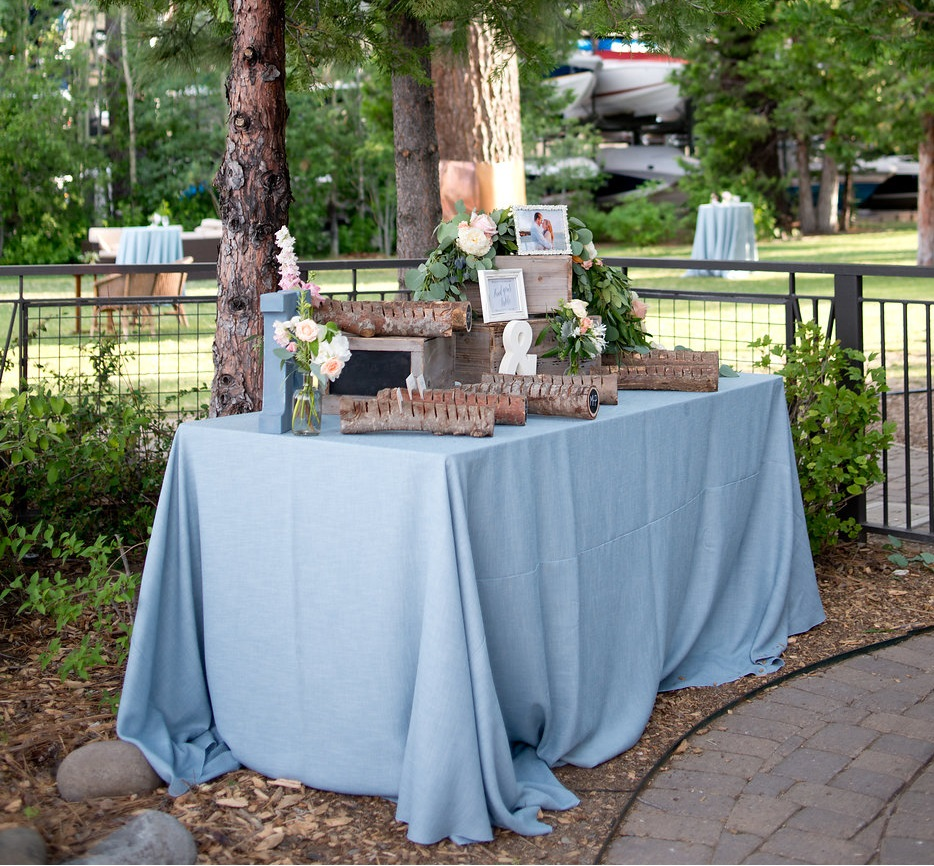 Spa Linnea Table Linen, Light Blue Table Cloth, Light Blue Textured Table Cloth, West Shore Cafe Wedding