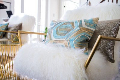 Topaz Prism Pillow, Blue and Gold Table Cloth, Blue Geometric Table Linen