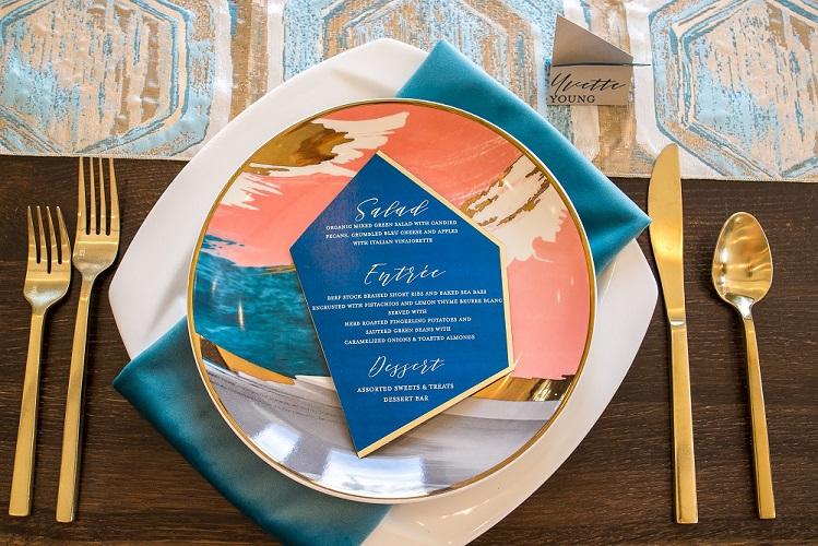 Ocean Blue Plush Velvet Napkin, Topaz Prism Table Linen, Blue and Gold Table Cloth, Blue Geometric Table Linen