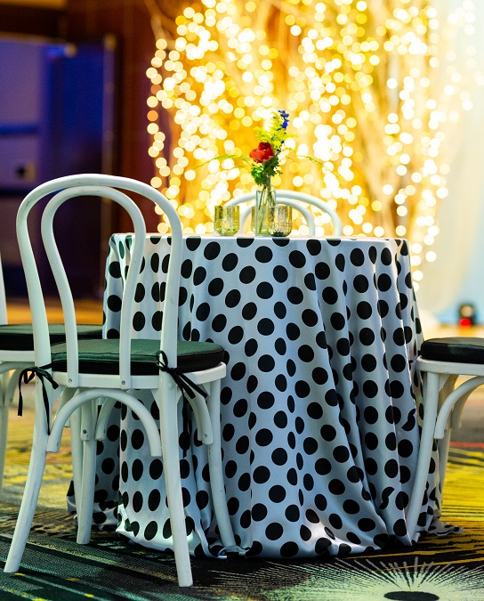 White with Black Polka Dot Table Linen, Black and White Dot Table Cloth