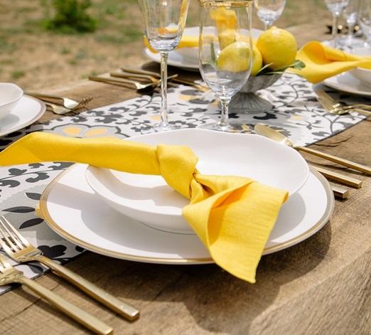 Mustard Dupioni Napkin, Yellow Matte Napkin
