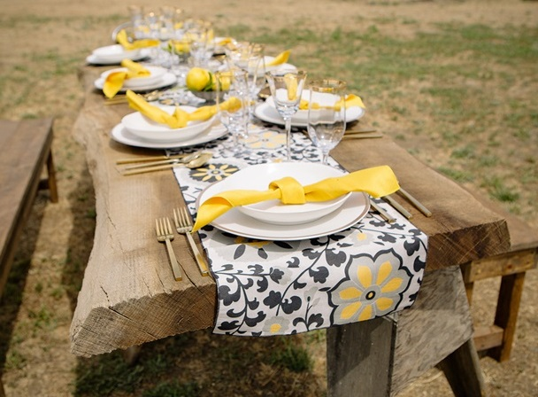 Posy Table Linen, Black Floral Table Cloth, Yellow Floral Table Cloth