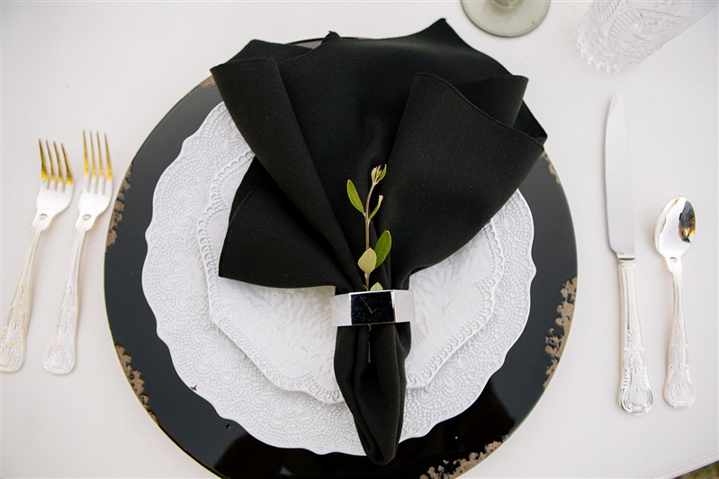 Black Essential Table Linen, Black Poly Table Cloth, Black Poly Napkin