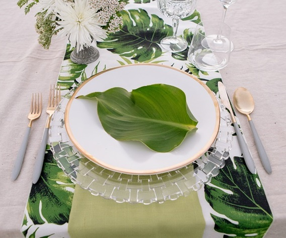 Swaying Palms Table Linen, Leaf Table Cloth