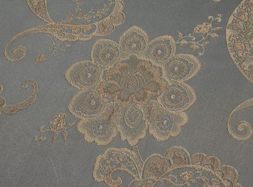Misty Blue Palazzo Table Linen, Slate Paisley Table Cloth, Blue Paisley Table Linen