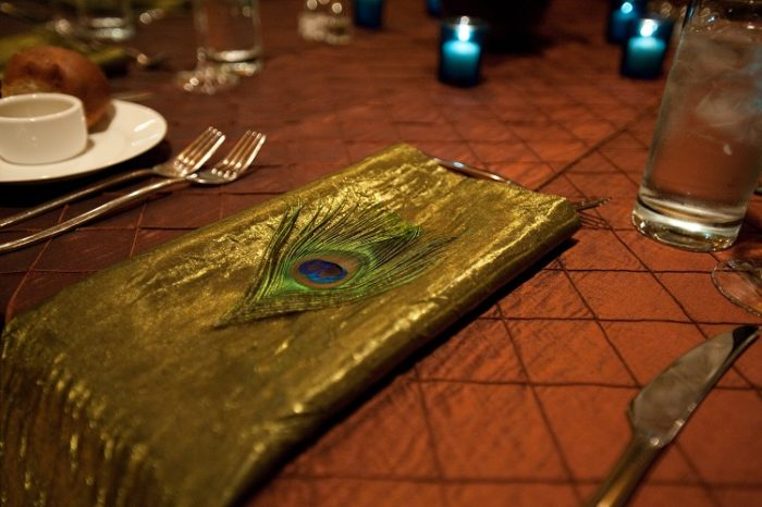 Moss Crush Napkin. Rust Pintuck Table Linen, Green Crush Table Cloth, Bronze Pintuck Table Cloth