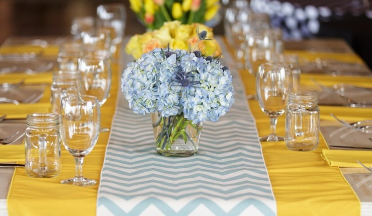 Mustard Dupioni Table Linen, Island Blue Chevron Runner
