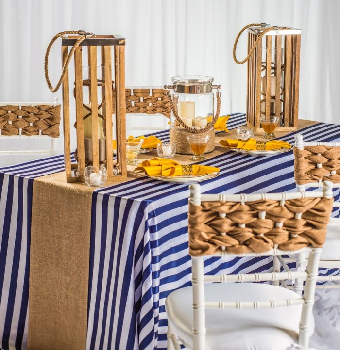 Toffee Vintage Linen Table Cloth, Rustic Table Linen, Burlap Table Cloth, Blue Stripe Table Cloth