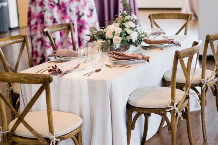 Oat Linnea Table Linen, White Voile Table Veil, Dusty Rose Plush Velvet Napkins