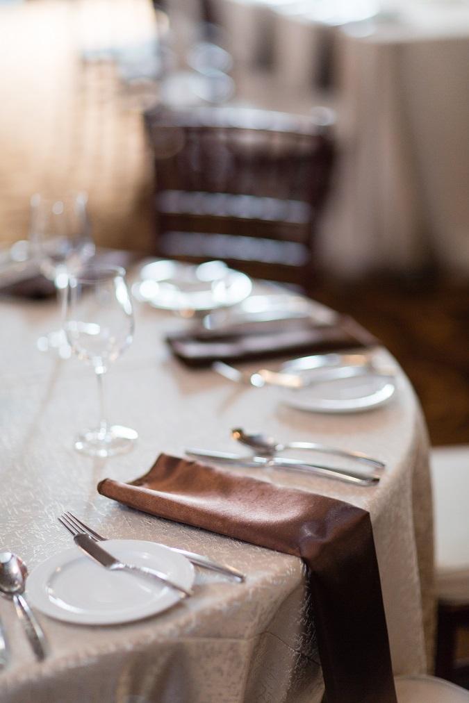 Champagne Tavira Table Linen, Champagne Table Cloth, Dark Brown Shantung Napkin, Chocolate Napkin