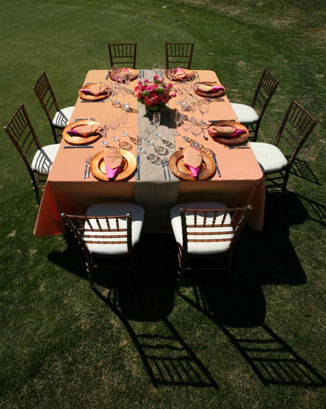 Papaya Dupioni Table Linen, Light Orange Table Cloth