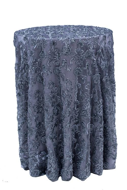 Pewter Luxury Organza Table Linen, Grey Floral Table Cloth, Grey Sheer Linen